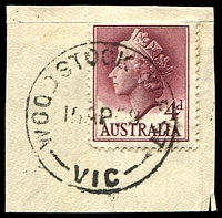 Lot 2957:Woodstock West: - WWW #20 'WOODSTOCK WEST/15AP59/VIC' on 4d QEII.  PO 9/5/1877; closed 31/10/1959.