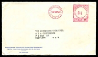 Lot 533:Australiasian Division of Seventh-Day Adventists, Wahroonga cover for The Treasurer, cancelled with 18 Feb 1958 Wahroonga, N.S.W. paid meter.