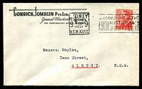 Lot 787:Conrick Tomalin Pty. Ltd, Sydney cover for General Merchants & Importers, franked with 3d red KGVI, 4 Sep 1951 Sydney slogan cancel.  PO 12/11/1928.