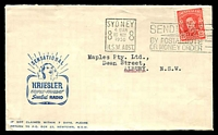 Lot 4898:Kriesler Radio cover with small logo, franked with 2½d red KGVI, 10 May 1950 Sydney slogan cancel.