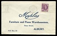 Lot 805:Maples, Albury cover for Furniture and Piano Warehousemen, franked with 2d purple KGVI, 16 Feb 1951 Wagga Wagga slogan cancel.