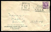 Lot 834:Melbourne Chair Co. Pty. Ltd, Collingwood cover franked with 2d purple KGVI, 27 Apr 1951 Melbourne slogan cancel.