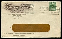 Lot 4112:Murray Bros Pty. Ltd, Alexandria window-faced cover for Timber Merchants, Furniture Manufacturers, franked with 1½d green QE, 31 Mar 1949 Sydney slogan cancel.