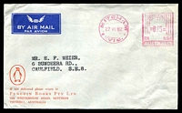Lot 561:Pengiun Books Pty. Ltd, Mitcham Air Mail cover with small logo, cancelled with 27 Jun 1962 Mitcham, Vic. Postage Paid meter.