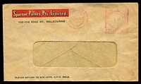 Lot 574:Spartan Paints Pty. Ltd, Melbourne window-faced cover cancelled with 17 Aug 1949 Melbourne Postage Paid meter.