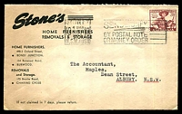 Lot 4978:Stone's cover for Home Furnishers, Removals & Storage franked with 3½d Jamboree, 8 Dec 1952 Sydney slogan cancel.
