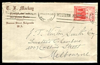 Lot 4983:T.F.Mackay, Kalgoorlie cover for Photographer and Art Picture Dealer, franked with 2d AIF, 26 Aug 1940 Kalgoorlie machine cancel.