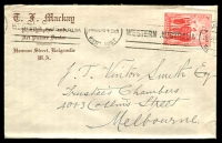 Lot 826:TF Mackay, Kalgoorlie cover for Photographer and Art Picture Dealer, franked with 2d AIF, 26 Aug 1940 Kalgoorlie machine cancel.