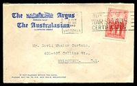Lot 612:The Argus & the Australasian, Melbourne cover with small logo, franked with faulty 2d AIF, 23 Aug 1940 Melbourne slogan cancel.