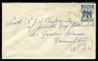 Lot 1411:Mount Vincent: - 'MOUNT VINCENT/8AU6?/N.S.W' on 5d AAT on cover. [Only the second recorded date.]  PO 1/4/1859; closed 31/7/1962.