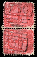Lot 5911:730: 2 strikes of BN on 1d Arms pair.  Allocated to Spring Grove-PO 1/7/1874; renamed Millthorpe PO 1/3/1884.