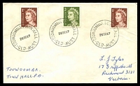 Lot 8794:Toowoomba Town Hall: - 3 strikes of 'TOOWOOMBA TOWN HALL/26SE67/QLD-AUST' (arcs .,.) on 1c x2 & 2c QEII on Tyler cover. [Rated 3R]  PO 2/6/1958.