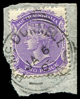 Lot 9955:Port Macdonnell: - squared-circle 'PT MC DONNELL/JA6/03/S.A' on 2d violet DLR P13. [Rated XX]  PO 6/9/1860.