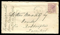 Lot 2481 [1 of 2]:156: 2nd type on 2d violet tied by 22½mm unframed 'MANSFIELD/JA15/84/VICTORIA' (A2-, WWW #10) on cover to Queensland.  Allocated to Mansfield-PO 18/1/1858.