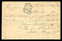 Lot 2239 [2 of 2]:5: 8th duplex 'BALLARAT/6K/JL29/80 - 5' (WWW #1440) on 1d Bell Post Card (central crease, tone spots).  Allocated to Ballarat-PO 1/11/1851.