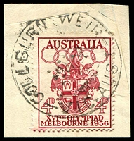 Lot 2514:Goulburn Weir: - WWW #40A 'GOULBURN WEIR/9JA57/VIC-AUST' on 4d Olympics. [Rated 2R]  PO 26/8/1887; closed 28/6/1974.