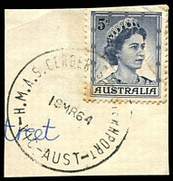 Lot 15853:H.M.A.S. Cerberus, Westernport: - WWW #20 'H.M.A.S.CERBERUS WESTERNPORT/19MR64/VIC-AUST' ('M' & 'A' undamaged) on 5d blue QEII (toned perfs). [Rated 2R]  Renamed from Flinders Naval Depot PO 1/3/1963; LPO 20/12/1993.