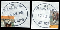 Lot 3369:Albany: - 28½mm '[code]/ALBANY RETAIL/[date]/WA 6330', 2 different codes, B & C, both dated 1996, (cut-to-shape through stamps). (2) PO 14/10/1834.