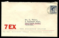 Lot 4816:7EX cover for The Examiner Station, Launceston, Tasmania, franked with 5d blue QEII, 3 Apr 1964 Launceston part slogan cancel.