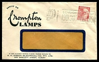 Lot 4828:A.H. Gibson (Electrical) Co. Pty. Ltd, Albury window-faced cover Insist on Crompton Lamps, franked with 3d Parkes, Jly 1951 Albury slogan cancel.