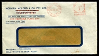 Lot 810 [1 of 2]:Norman McLeod & Co. Pty. Ltd. window-faced cover for Majorca - The Original Mill White Water Paint, cancelled with 14 Mar 1934 Burwood, N.S.W. meter.