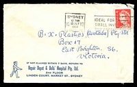 Lot 4556:Repair Depot & Dolls' Hospital Pty. Ltd, Sydney cover with small logo, franked with 4c red QEII, 13 Jly 1966 Sydney slogan cancel.