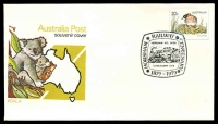 Lot 4895:1979 Centenary Horsham Railway pictorial 'HORSHAM RAILWAY CENTENARY/HORSHAM VIC. 3400./[train]/5 FEBRUARY 1979/1879 - 1979' (A1) on 20c Little Grebe on unaddressed APO Souvenir cover, Cat #35.