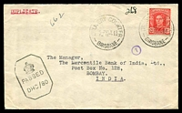 Lot 630 [1 of 2]:1943 use of 2½d red KGVI, cancelled by 2 strikes of 'DELIVERY COUNTER/5P20JL43/BRISBANE' (A2) on Union Bank of Australia Ltd. cover (logo on reverse), addressed to Bombay, India with passed by censor DHC/80 octagonal boxed handstamp on face.