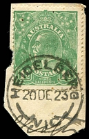 Lot 272:1½d Green Die I - [12R34] Broken base of crown etc cancelled by 25½mm 'HEIDELBERG/20DE23/VIC' (B1), small tear, couple of short perfs.