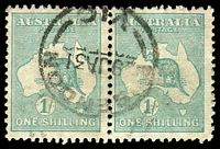Lot 132:1/- Emerald BW #34 pair, cancelled 'ESSENDON/29JA31/VIC