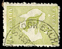 Lot 122:3d Olive Die I BW #13(2)j [2R51] White scratch from left frame to Albany, fluffy perfs, corner perf missing, Cat $125.