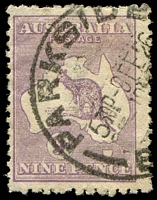 Lot 978:9d Violet Die IIB BW #27(3)g Vertical white scratch over second 'N' of 'NINE', some short perfs along top margin, Cat $125