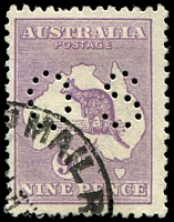 Lot 125:9d Violet Die II W #26ba(2)n, perf 'OS' with Break in inner right frame opposite 'PENCE', Cat $125, short perf.
