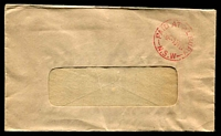 Lot 1224:Albury (2): - red 'PAID AT ALBURY/3D-7JY52/N.S.W' on window-faced cover.  PO 1/2/1847.
