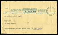 Lot 1619:Darwin (2): - 'T.O.DARWIN/8AU55/NORTH-AUST' on TG42B Telegram form. [Rare use of this cds in the post-WWII period.]  PO 19/2/1946.