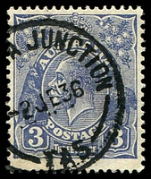 Lot 1843:Conara Junction: - '[CONAR]A JUNCTION/2JE36/TAS' on 3d blue KGV.  Renamed from Corners PO 14/10/1887; closed 31/12/1959.