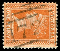 Lot 11220:1725: '1725' on 1d brown.  Allocated to Jeetho Valley-PO 5/12/1889; renamed Jeetho PO c.1894; closed 30/11/1951.