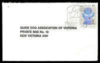 Lot 3006:Healesville: - WWW #140 pictorial '[emu]/28SEP1990/HEALESVILLE/SANCTUARY/HEALESVILLE V[IC 3777]' on 41c Community Health on Guide Dogs cover.  PO 1/5/1865; closed 9/2/2007.