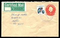Lot 2537 [1 of 2]:Highpoint West: - WWW #10 violet 'HIGHPOINT WEST/24NOV1975/VIC. 3032' on 8c Opal on 10c PSE with Certified Mail label attached.  PO 2/9/1975; renamed Highpoint City PO 21/4/1987.