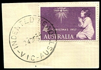 Lot 13932:Indented Head: - WWW #10A, 'INDENTED HEAD/24DE57/VIC-AUST' on 4d Xmas.  PO 13/10/1947; LPO 8/3/1994.