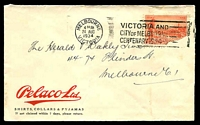 Lot 813:Pelaco Ltd. cover for Shirts, Collars & Pyjamas, franked with faulty 2d Vic Centenary, 24 Aug 1934 Melbourne slogan cancel, roughly opened, small toned area.