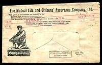 Lot 579:The Mutual Life And Citizens' Assurance Comp. Ltd. illustrated window-faced cover cancelled with 21 Dec 1911 Sydney Paid machine in red, faults, roughly opened at back.