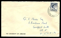 Lot 829:The University of Adelaide cover franked with 5d blue QEII, 5 Nov 1959 Parkside, Sth. Aust. cancel.