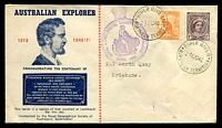 Lot 4824:1945 Leichardt Centenary 'ROYAL GEOGRAPHICAL SOCIETY OF AUSTRALIA/{logo}/Queensland/INSTD.1895.' cachet in violet on illustrated Leichardt cover franked with ½d Roo & 1d purple-brown QE cancelled with 2 strikes of 'ROPER RIVER/24OCT45/NORTHERN TERRITORY' (A2), typed addressed.