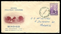 Lot 3804:1955 2nd Philatelic Congress 3½d Nursing on illustrated Congress cover, 12 Nov 1955 Bendigo cds, addressed, couple of tone spots on stamp perfs.