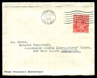 Lot 5033:1930 use of 1½d red KGV perf 'OS' on 'PRIME MINISTER'S DEPARTMENT' cover, cancelled with 25 Jul 1930 Canberra machine, flap damaged on opening.