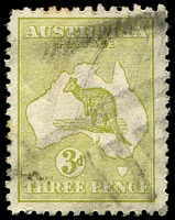 Lot 865:3d Olive Die I BW #13(2)k [2R52] White scratch through stamp across northern part of map, Cat $125, couple of toned perfs, blunt corner.