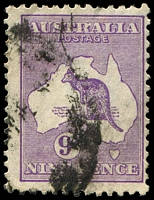 Lot 126:9d Violet Die IIB BW #27(4) [4R14] Flaw on R of AUSTRALIA, notch in lower right frame, one short perf.