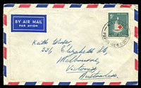 Lot 4319:Kavieng: 'KAVIENG/5AU63/PAPUA NEW GUINEA' on 5d Red Cross Centenary on Air Mail cover to Victoria, Aust.  PO 10/8/1946.