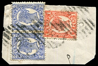 Lot 7031:338: 3 strikes of BN on 1d & 2d 4-Corners pair. [Rated 2R]  Allocated to Return Creek-PO 17/8/1882; renamed Coolgarra PO 1/1/1883; closed 28/2/1968.